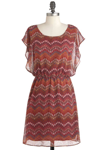 I Mesa You Dress - Mid-length, Red, Orange, Blue, Print, Casual, Short Sleeves, Folk Art, Sheer