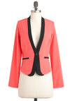 Professional to the Coral Blazer - Pink, Black, Buttons, Casual, Long Sleeve, Short, Work, Vintage Inspired, 80s, 1, Neon, Coral