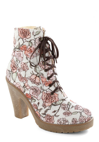 What Are You Waiting Flora? Boot - White, Red, Green, Pink, Tan / Cream, Floral, Casual, Urban, 90s, High, Steampunk, Platform, Lace Up