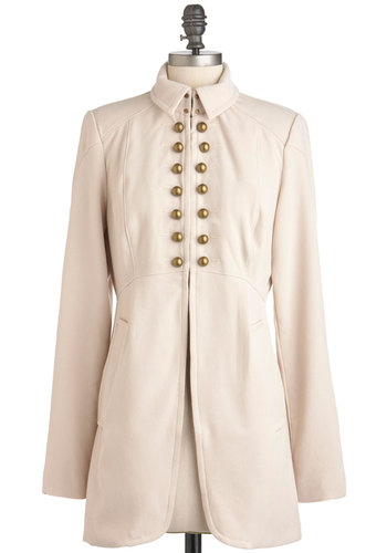 Command a Chance Coat - Cream, Solid, Buttons, Pockets, Long Sleeve, Casual, Military, Fall, Long, Steampunk, 3
