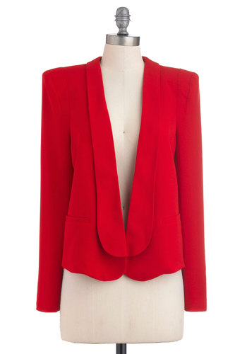 Chief Elegant Officer Blazer - Mid-length, Red, Solid, Menswear Inspired, Long Sleeve, Work, Casual, 80s, 1