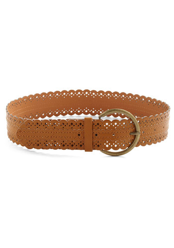 Scallop to Speed Belt in Tan - Tan, Solid, Cutout, Scallops, Casual, Boho, Faux Leather