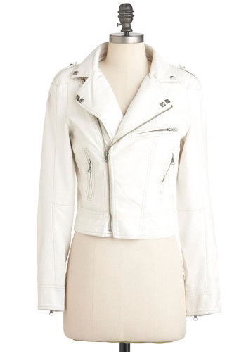 Sound Check it Out Jacket - White, Solid, Epaulets, Exposed zipper, Studs, Long Sleeve, Short, Party, Casual, Urban, Girls Night Out, 2, Spring, Faux Leather