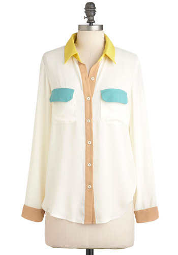 Miami What I Am Top - Cream, Yellow, Green, Brown, Buttons, Pockets, Long Sleeve, Mid-length, Casual, Colorblocking, Pastel, Sheer, Button Down, Collared