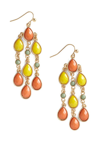 Along the Mediterranean Earrings - Multi, Orange, Yellow, Green, Rhinestones, Party, Statement