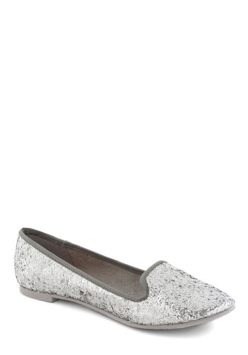 Silver Pining Flat - Silver, Sequins, Casual, Urban, Glitter, Flat