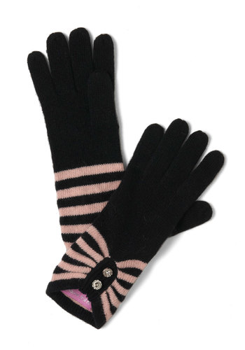 Pair Skating Gloves by Alice Hannah London - Black, Pink, Stripes, Rhinestones, Vintage Inspired, Winter
