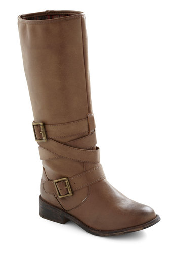 Ride On Time Boot - Brown, Solid, Buckles, Casual, Safari, Rustic, Low, Faux Leather