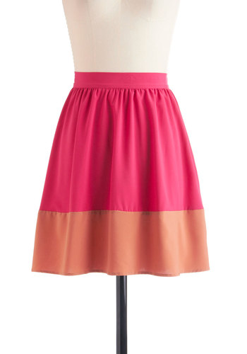 Sway and Simple Skirt - Short, Pink, Orange, A-line, Casual, Summer, Colorblocking, Beach/Resort