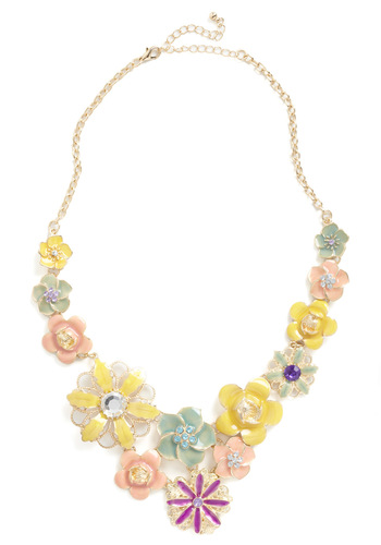 While Away the Flowers Necklace - Multi, Rhinestones, Prom, Vintage Inspired, Cocktail, Pastel, Daytime Party