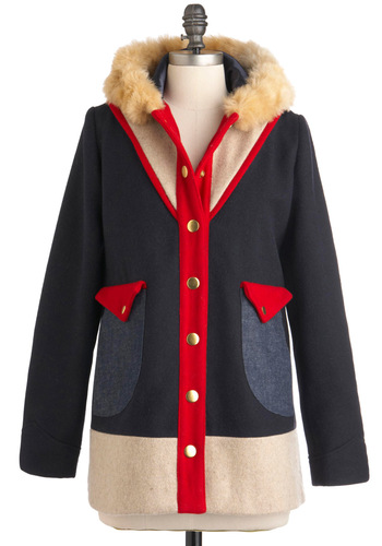 Lauren Moffatt Small Town Charm Coat by Lauren Moffatt - Blue, Red, Tan / Cream, Buttons, Pockets, Casual, Long Sleeve, Winter, 4, Colorblocking, Long