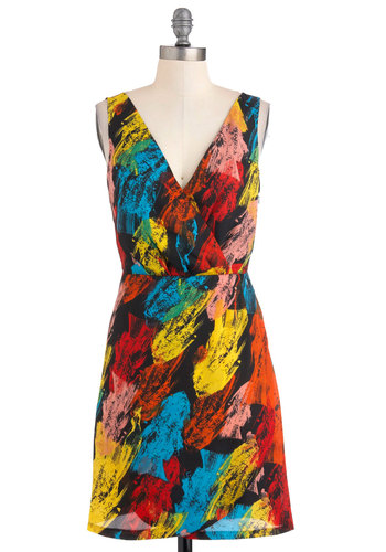 School of Design Dress by Jack by BB Dakota - Mid-length, Multi, Print, Party, Sheath / Shift, Sleeveless, Summer, Statement, V Neck, Tis the Season Sale