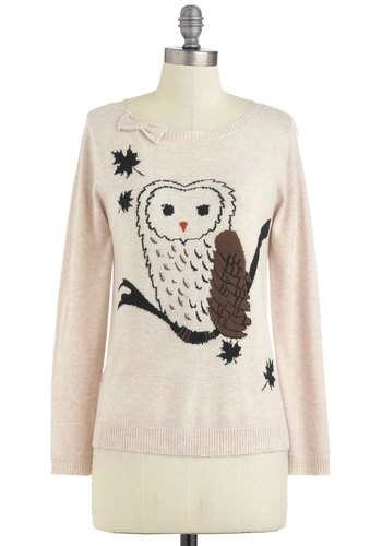 Bough House Sweater by Yumi - Mid-length, Tan, Brown, Black, Bows, Knitted, Owls, Long Sleeve, Casual, Print with Animals, Novelty Print