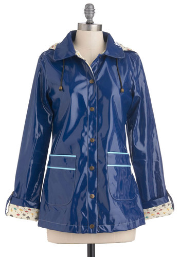 Puddle Together Raincoat by Yumi - Blue, Casual, Long Sleeve, 2, Spring, Mid-length