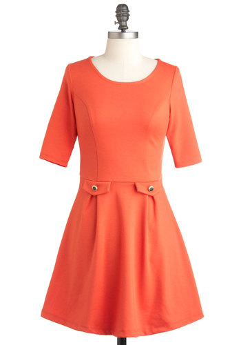 You Guest It Dress in Orange - Short, Orange, Solid, A-line, 3/4 Sleeve, Daytime Party, Vintage Inspired, Mod, Minimal
