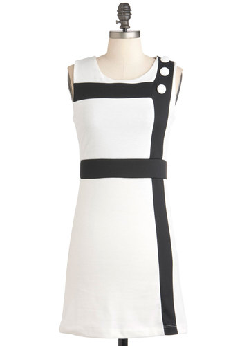 Mod Around the Corner Dress - Short, White, Black, Buttons, Sheath / Shift, Sleeveless, 60s, Mod