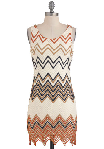 What's My Motif? Dress - Short, Cream, Orange, Blue, Brown, Print, Cutout, Party, Shift, Sleeveless, Folk Art, Bodycon / Bandage