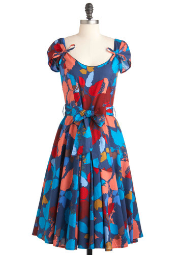 Tiptoeing through Twilight Dress - Long, Blue, Multi, Floral, Party, A-line, Cap Sleeves, Spring, Belted, Vintage Inspired, Cotton, Fit & Flare, Beach/Resort