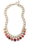 Luck Bead a Lady Necklace - Multi, Red, Orange, Yellow, Gold, Casual, Vintage Inspired, Statement