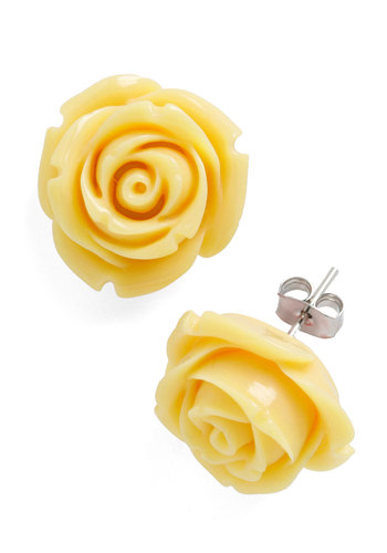 Retro Rosie Earrings in Banana - Yellow, Solid, Flower, Fairytale, Work, Vintage Inspired, Pastel, Daytime Party, Variation, Bridesmaid, Top Rated