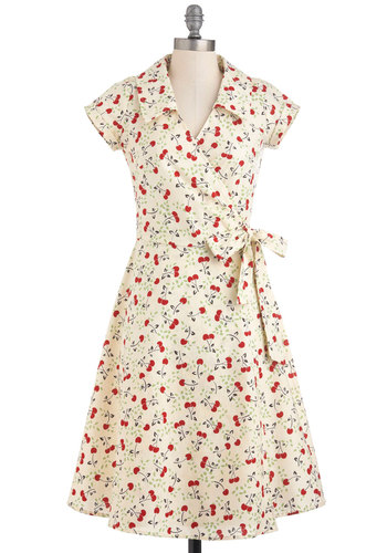 Cherry a Tune Dress - Long, Red, Casual, Wrap, Spring, 50s, Cotton, Collared, Fit & Flare, Cream, Print, Vintage Inspired, Fruits, Cap Sleeves