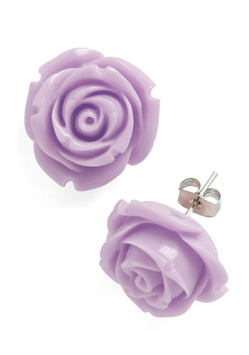 Retro Rosie Earrings in Violet - Purple, Solid, Flower, Fairytale, Casual, Pastel, Daytime Party, Variation, 60s, Bridesmaid, Spring, Gals, Wedding, Bride, Silver, Top Rated, Party