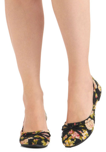 Posey Toes Flat - Black, Green, Pink, Tan / Cream, Floral, Bows, Casual, Spring, Flat