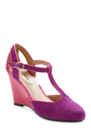 Pink on Your Feet Wedge - Purple, Trim, High, Wedge, Pink, Party, Colorblocking, Spring