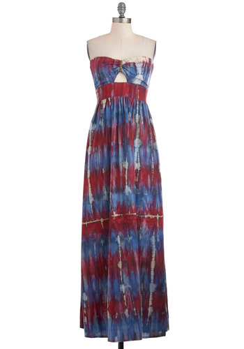 La Maxi Boheme Dress in Berry by Sugarhill Boutique - Long, Multi, Red, Blue, White, Print, Cutout, Casual, Maxi, Strapless, Summer, Boho, Sweetheart, International Designer, Tis the Season Sale, Beach/Resort