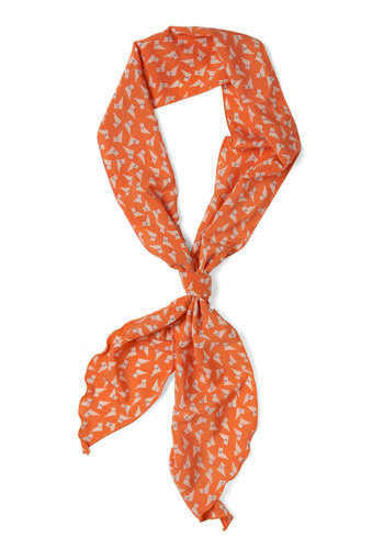 Quick to Cat On Scarf - Orange, Tan / Cream, Print with Animals, Quirky