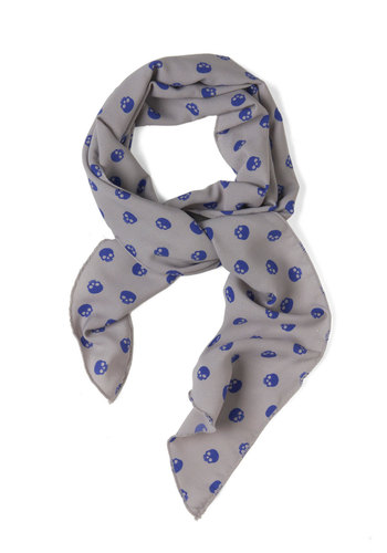 Back to Skull Scarf - Grey, Blue, Novelty Print, Urban, Casual, Top Rated