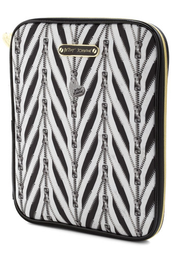 Betsey Johnson Round Zip Ticket iPad Case by Betsey Johnson - Multi, Black, White, Travel, Work, Statement