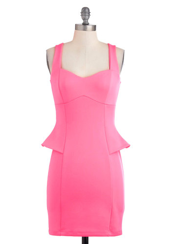 Front Row Femme Dress - Pink, Solid, Party, Shift, Sleeveless, Summer, Mid-length, Urban, Girls Night Out, Neon, Bodycon / Bandage, Sweetheart, Tis the Season Sale