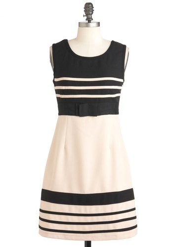 Keep It Classy Dress - Mid-length, Cream, Black, Stripes, Bows, A-line, Sleeveless, Party