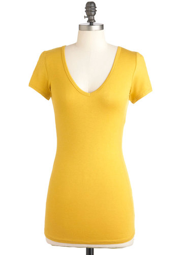 V, Myself, and I Tee in Mustard - Yellow, Solid, Short Sleeves, Casual, Mid-length, Jersey, V Neck, Variation