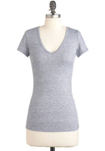 V, Myself, and I Tee in Grey - Grey, Solid, Short Sleeves, Casual, Mid-length, V Neck, Variation, Beach/Resort, Travel