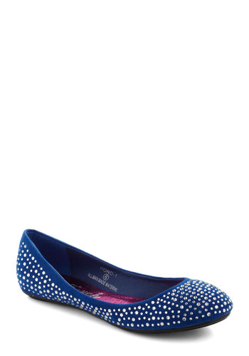 Galaxy You Soon Flat - Blue, Silver, Rhinestones, Casual, Faux Leather, Flat