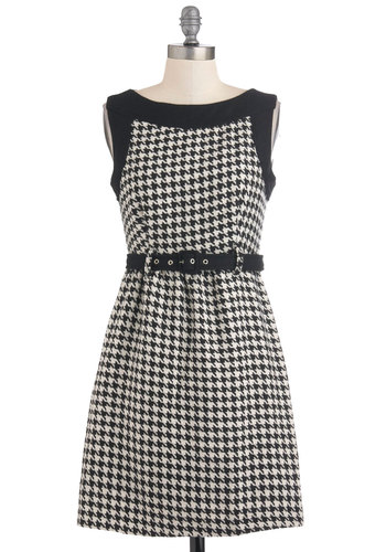 Bonjour the One Dress - Short, Black, White, Houndstooth, Work, A-line, Sleeveless, Belted, Scholastic/Collegiate