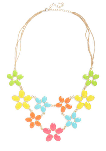 Collar of Color Necklace - Multi, Flower, Party, Statement, 60s