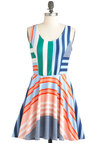 Sailing Weather Dress - Short, Multi, Stripes, Casual, A-line, Sleeveless, Summer, Orange, Green, Blue, White