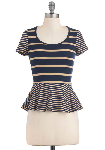 Beach Town Beauty Top - Short, Blue, Tan / Cream, Stripes, Short Sleeves, Peplum, Casual