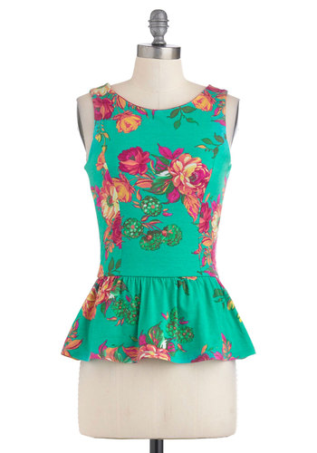 Good Peplum Talk Top - Mid-length, Green, Pink, Floral, Sleeveless, Peplum, Orange, Summer, Cotton, Work, Daytime Party