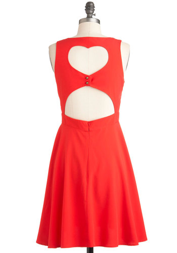 I Love You Back Dress - Red, Solid, Cutout, Party, A-line, Mid-length, Sleeveless, Summer, Holiday Sale