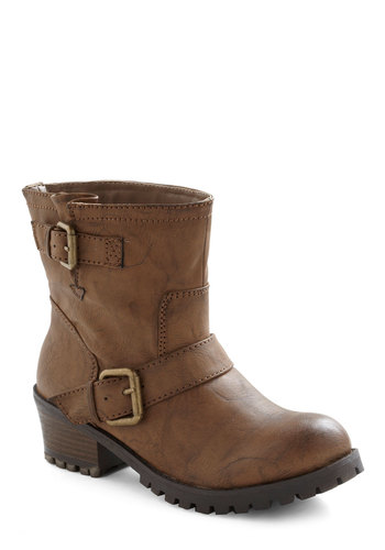 Ride and True Boot - Tan, Solid, Buckles, Low, Casual, Fall, Winter, Rustic, Faux Leather, Mid