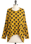 Creature of Habitat Top - Yellow, Black, Polka Dots, Casual, Long Sleeve, Fall, Mid-length