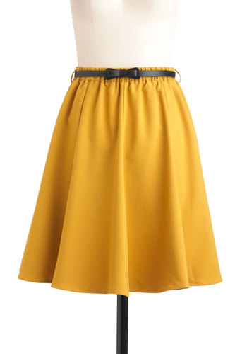 Ochre the Moon Skirt - Yellow, Solid, Bows, A-line, Mid-length, Belted, Work