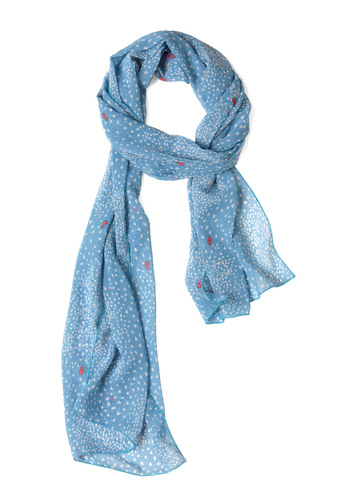 Flock of Love Scarf - Blue, Pink, White, Print, Casual