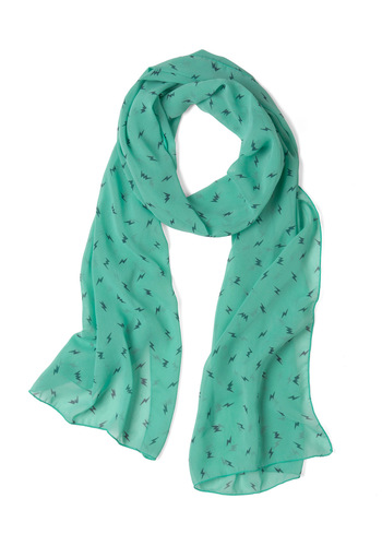 You Look Crashing Scarf - Green, Black, Novelty Print, Urban, Casual