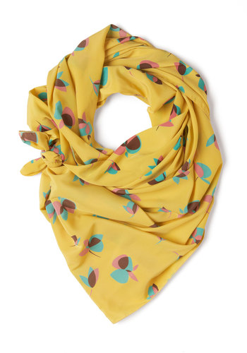 Gentle Blossoms Scarf - Yellow, Green, Pink, Brown, Floral, Casual