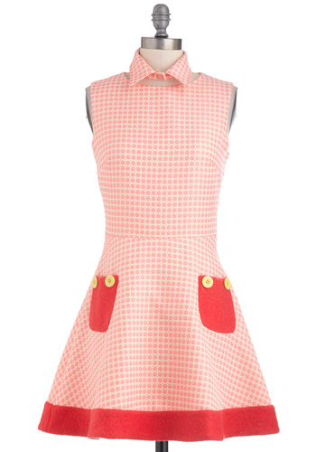 Children's Theater Director Dress - Pink, Red, Print, Buttons, Pockets, Party, Sleeveless, Fit & Flare, Mid-length, Pastel, Collared, International Designer